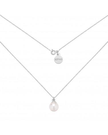 Srebrny naszyjnik z białą perłą SWAROVSKI® CRYSTAL