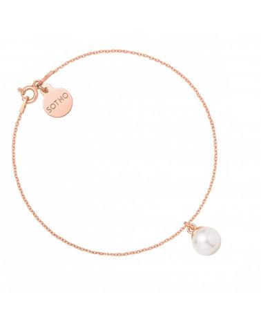 Bransoletka z różowego złota z białą perłą SWAROVSKI® CRYSTAL