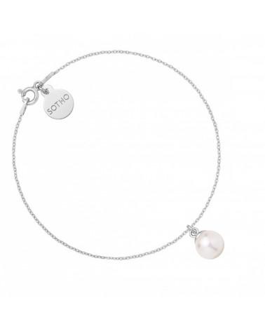 Srebrna bransoletka z białą perłą SWAROVSKI® CRYSTAL