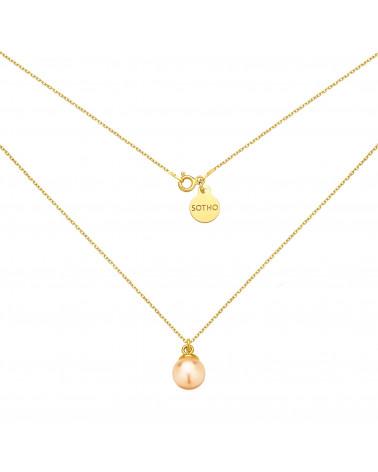 Złoty naszyjnik z łososiową perłą SWAROVSKI® CRYSTAL