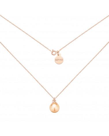 Naszyjnik z różowego złota z łososiową perłą SWAROVSKI® CRYSTAL