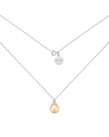 Srebrny naszyjnik z łososiową perłą SWAROVSKI® CRYSTAL