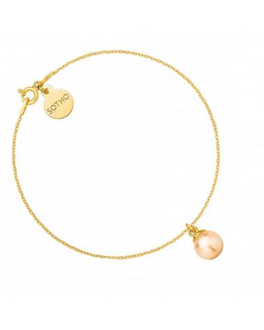 Złota bransoletka z łososiową perłą SWAROVSKI® CRYSTAL