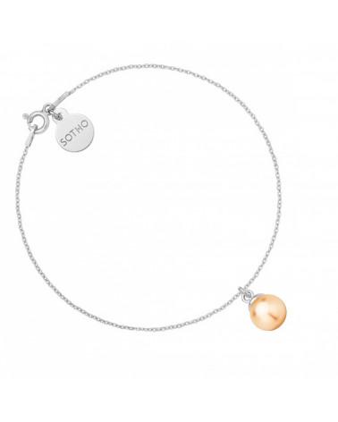Srebrna bransoletka łososiową perłą SWAROVSKI® CRYSTAL