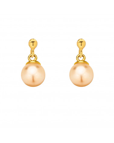 Złote kolczyki z łososiową perłą SWAROVSKI® CRYSTAL