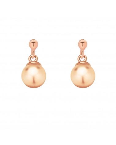 Kolczyki z różowego złota z łososiową perłą SWAROVSKI® CRYSTAL