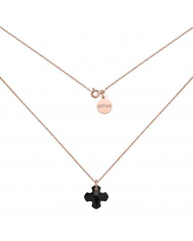 Naszyjnik z różowego złota kryształowym krzyżem SWAROVSKI® CRYSTAL