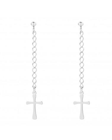 Długie srebrne kolczyki z krzyżykami