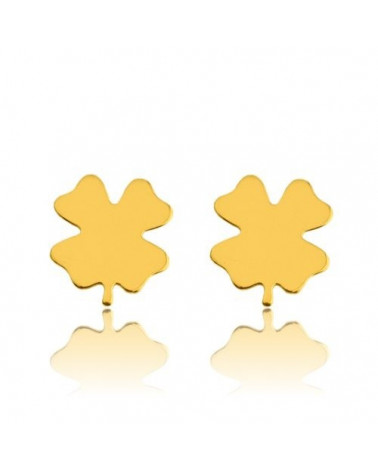 Złote kolczyki koniczynki