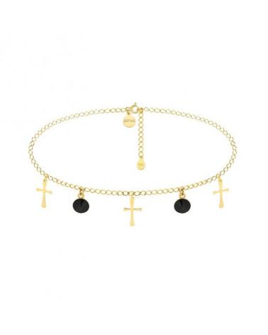 Złoty choker z krzyżykami i czarnymi kryształami SWAROVSKI® CRYSTAL