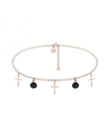 Choker z krzyżykami z różowego złota i czarnymi kryształami SWAROVSKI® CRYSTAL