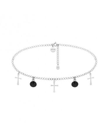 Choker ze srebrnymi krzyżykami i czarnymi kryształami SWAROVSKI® CRYSTAL