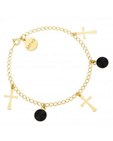 Złota bransoletka z krzyżykami i czarnymi kryształami SWAROVSKI® CRYSTAL