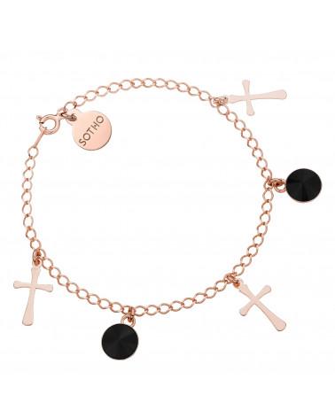 Bransoletka z krzyżykami z różowego złota i czarnymi kryształami SWAROVSKI® CRYSTAL