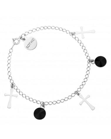 Srebrna bransoletka z krzyżykami z czarnymi kryształami SWAROVSKI® CRYSTAL