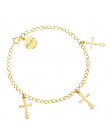 Złota bransoletka z trzema krzyżykami