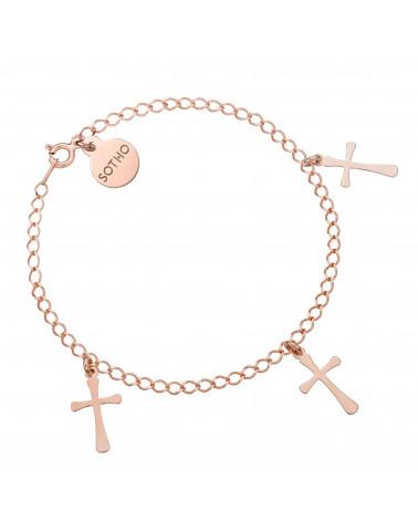 Bransoletka z różowego złota z trzema krzyżykami