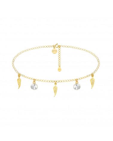 Złoty choker z piórkami i bezbarwnymi kryształami SWAROVSKI® CRYSTAL