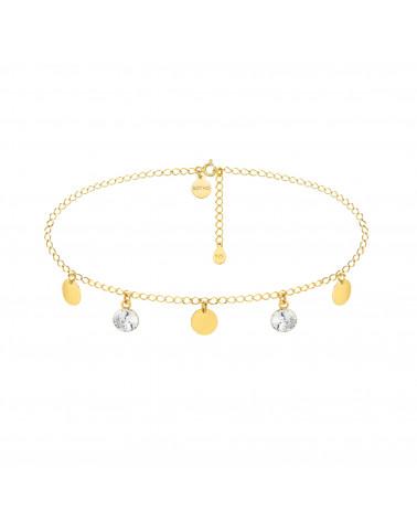 Złoty choker z okrągłymi blaszkami i bezbarwnymi kryształami SWAROVSKI® CRYSTAL