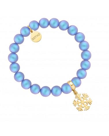 Niebieska bransoletka z pereł SWAROVSKI® CRYSTAL ze złotą śnieżynką