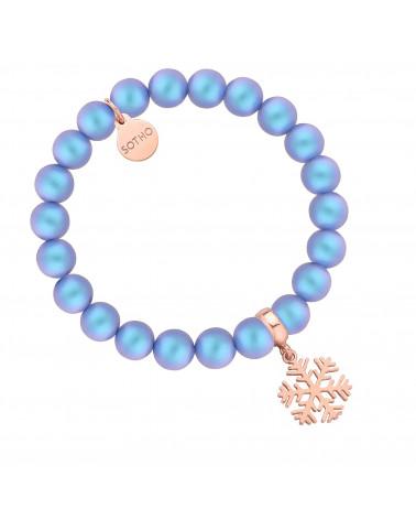 Niebieska bransoletka z pereł SWAROVSKI® CRYSTAL ze śnieżynką z różowego złota
