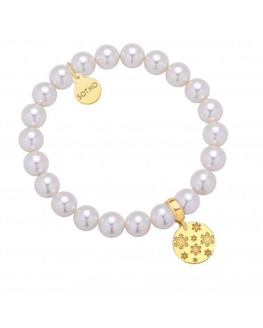 Złoty pierścionek z kuleczką i perłą Pastel Grey SWAROVSKI® CRYSTAL