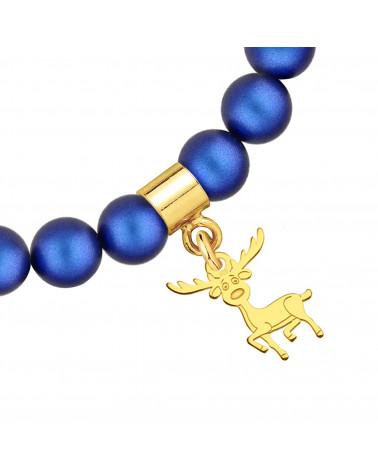 Granatowa bransoletka z pereł SWAROVSKI® CRYSTAL ze złotym reniferkiem