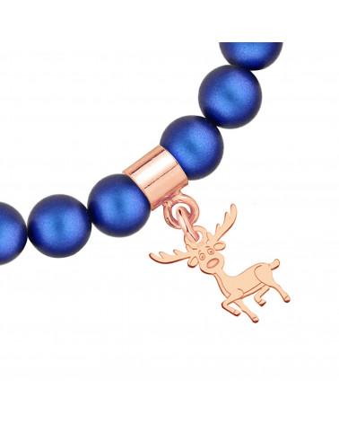 Granatowa bransoletka z pereł SWAROVSKI® CRYSTAL z reniferkiem z różowego złota