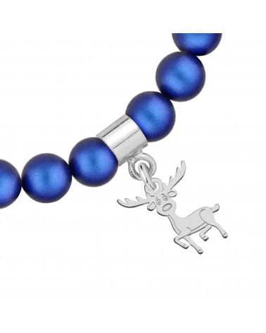 Granatowa bransoletka z pereł SWAROVSKI® CRYSTAL ze srebrnym reniferkiem