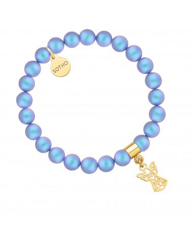 Niebieska bransoletka z pereł SWAROVSKI® CRYSTAL ze złotym ażurowym aniołkiem