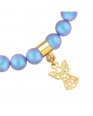 Złoty pierścionek z kuleczką i perłą Pastel Yellow SWAROVSKI® CRYSTAL