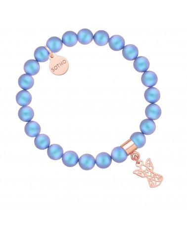 Niebieska bransoletka z pereł SWAROVSKI® CRYSTAL z ażurowym aniołkiem z różowego złota