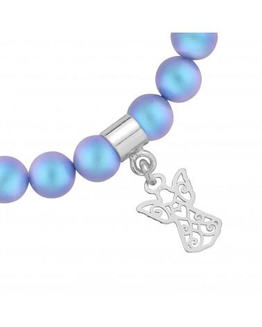 Niebieska bransoletka z pereł SWAROVSKI® CRYSTAL ze srebrnym ażurowym aniołkiem