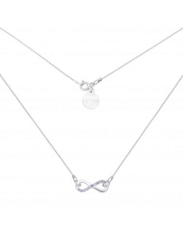 Srebrny naszyjnik z nieskończonością z kryształkami SWAROVSKI® CRYSTAL