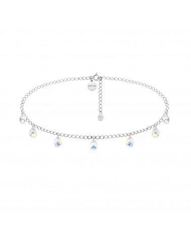Srebrny choker opalizującymi kryształami SWAROVSKI® CRYSTAL