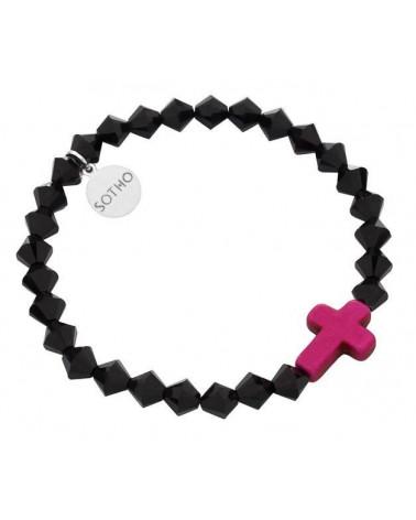 Czarna bransoletka różowy krzyż howlit kryształy SWAROVSKI® ELEMENTS