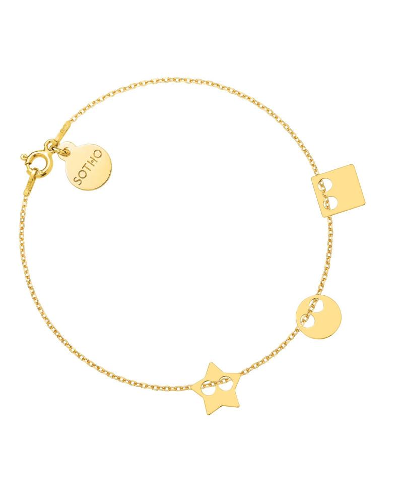 Złota bransoletka z trzema zawieszkami