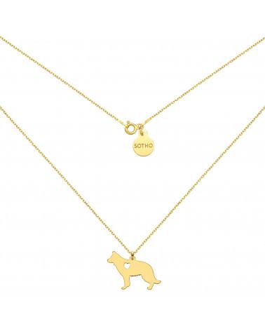Złoty naszyjnik z psem rasy owczarek niemiecki