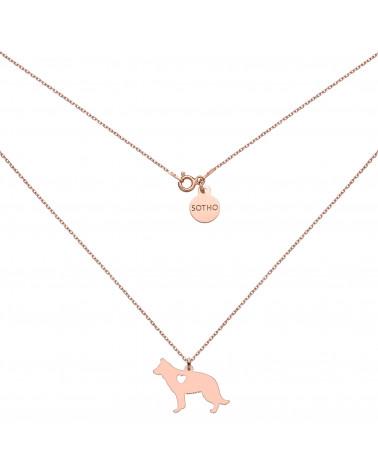 Naszyjnik z psem rasy owczarek niemiecki z różowego złota