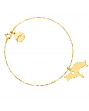 Złota bransoletka z psem rasy owczarek niemiecki