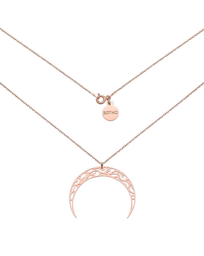 Naszyjnik z różowego złota z księżycem