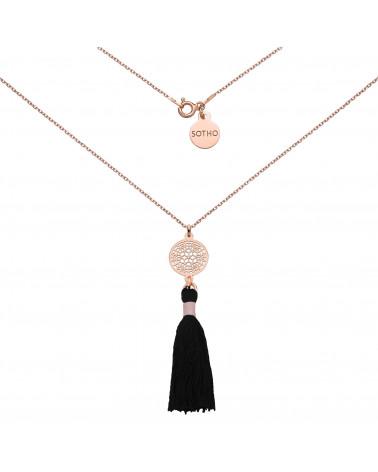 Naszyjnik z różowego złota z czarnym chwostem i rozetką