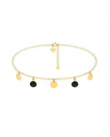 Złoty choker z okrągłymi blaszkami i czarnymi kryształami SWAROVSKI® CRYSTAL