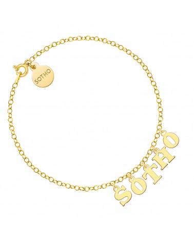 Złota bransoletka z literkami