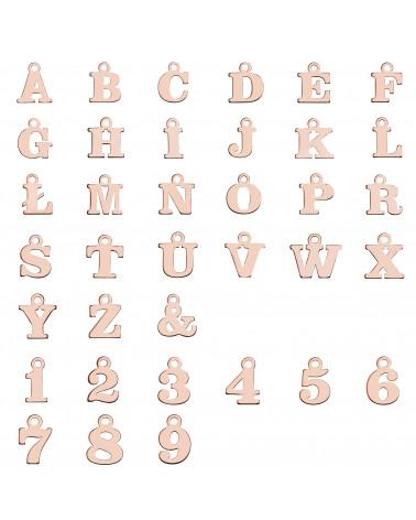 Bransoletka z literkami i cyferkami z różowego złota