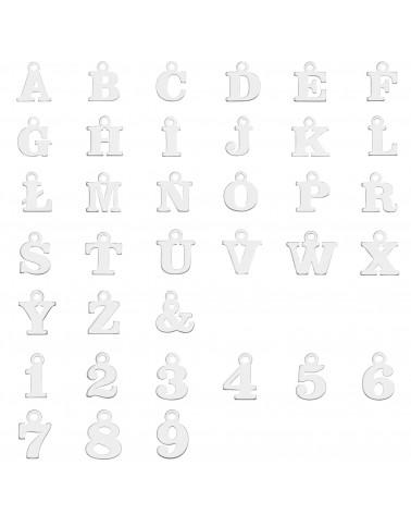 Srebrna bransoletka z literkami i cyferkami