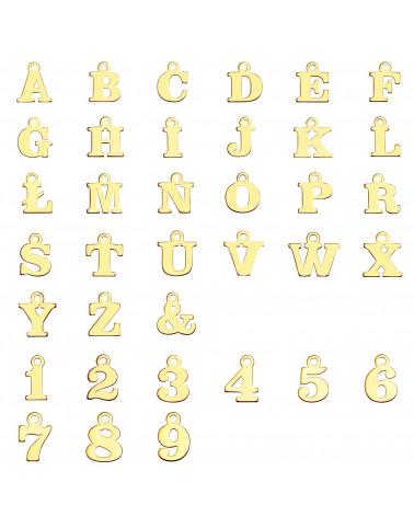 Złoty naszyjnik z literkami i cyferkami