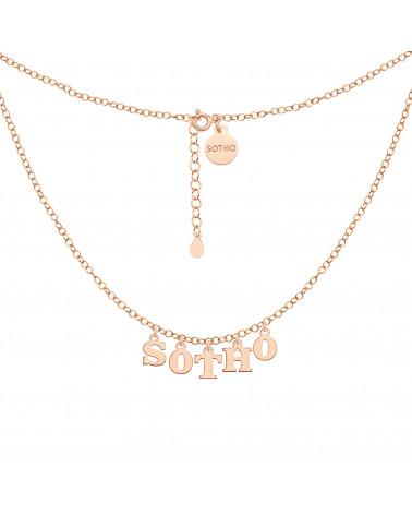 Naszyjnik z literkami i cyferkami z różowego złota