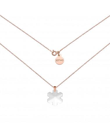 Naszyjnik z różowego złota ze śnieżynką SWAROVSKI® CRYSTAL