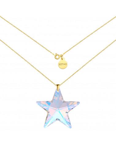 Złoty naszyjnik z dużą gwiazdą SWAROVSKI® CRYSTAL